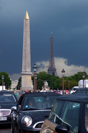 Concord area looking back on the Eiffel Tower with storm behind