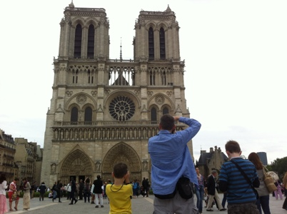 All the boys photographing Notre Dame