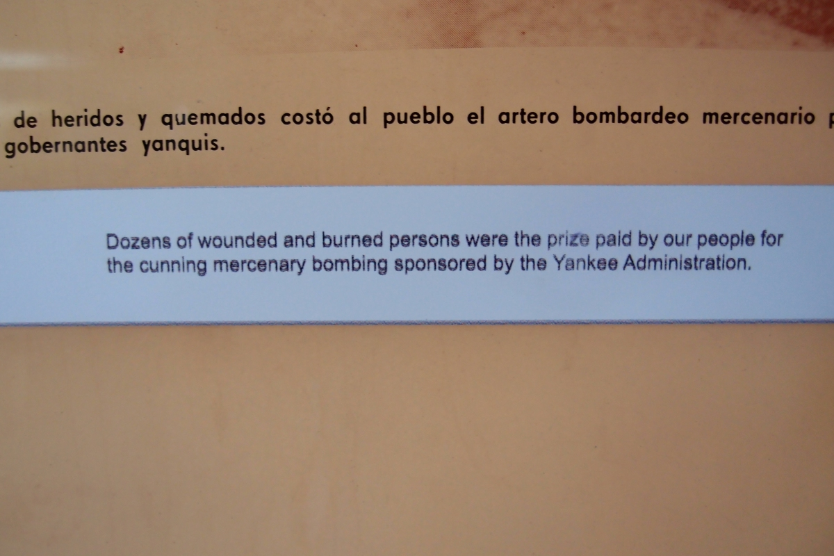 One of the exhibits labels at Playa Grions Museum
