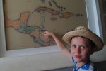 Matthew pointing out where the US troops came from in the Bay of Pigs battle with Cuba