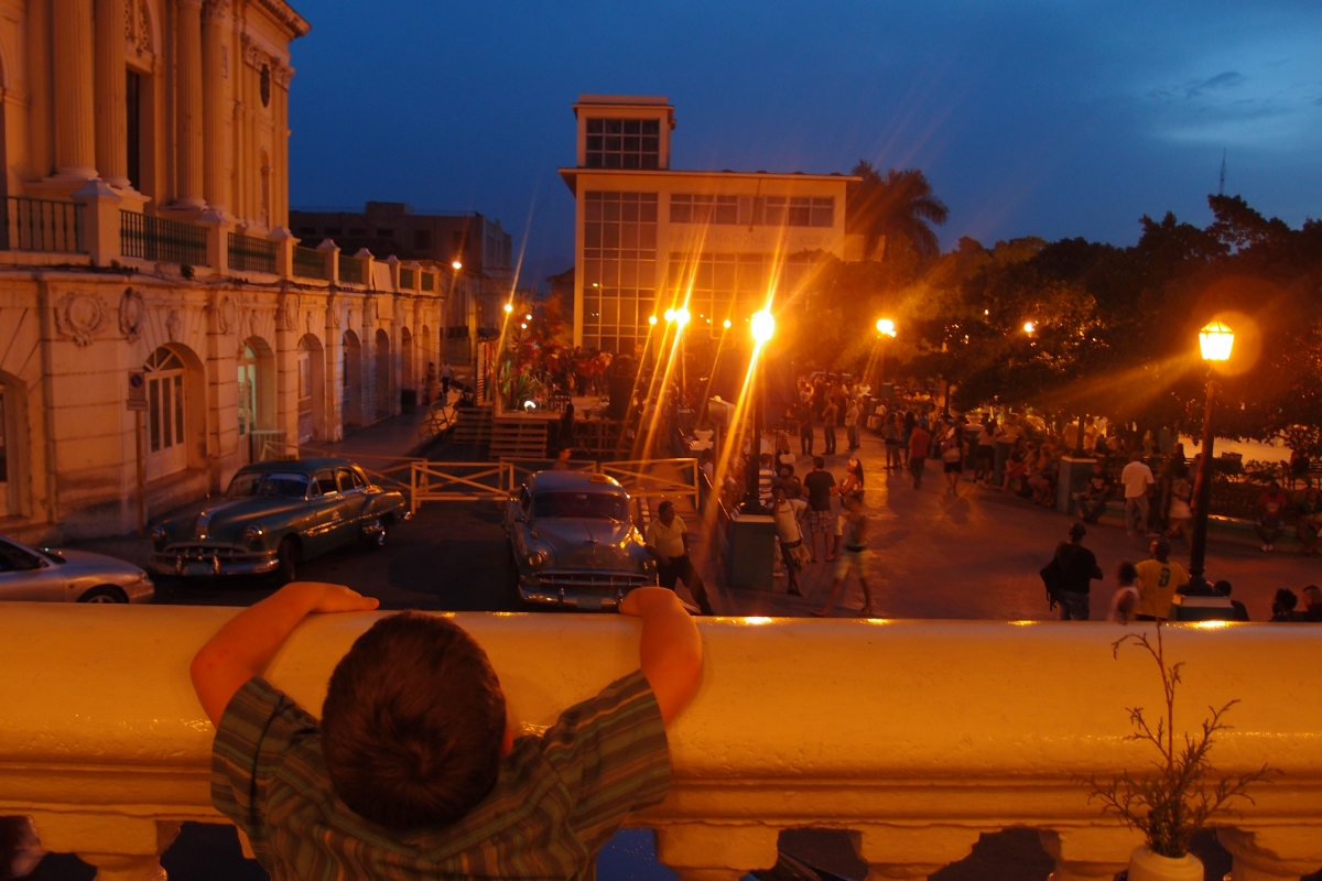 Looking over Parque Cespedes at night with Matthew