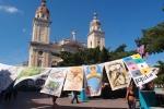 Festival flags in front of Catedral de Nuestra Senora de la Asuncion