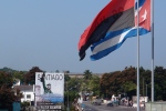 Flags flying in Santiago de Cuba