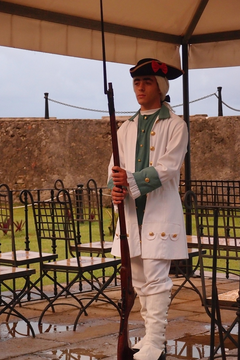 In costume guard at Forteleza de San Carlos de la Cabana